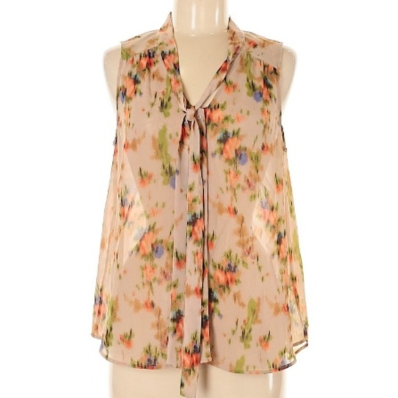 Halogen Tops - Halogen sheer tan top with abstract floral Large